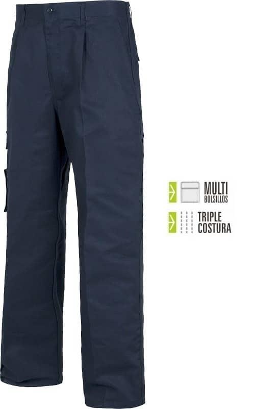 Pantalón de trabajo cosido con Triple costura Multibolsillos.