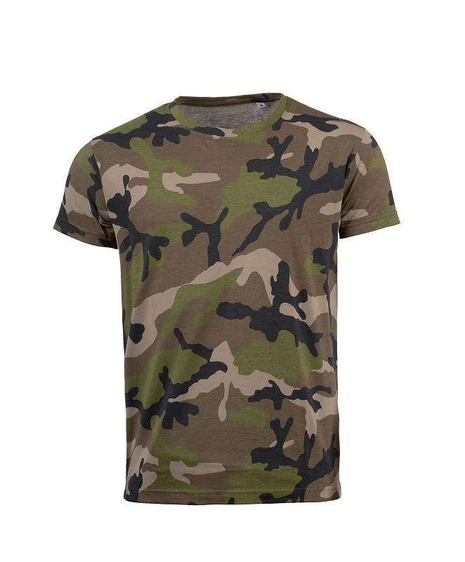 Camiseta de hombre en manga corta estilo camuflaje 100% Algodón.