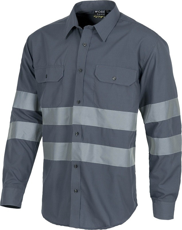 Camisa de trabajo de Manga Larga y bandas reflectantes.
