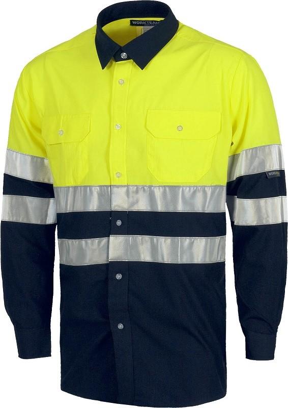 Camisa Alta Visibilidad de Manga Larga, combinada con bandas reflectantes.