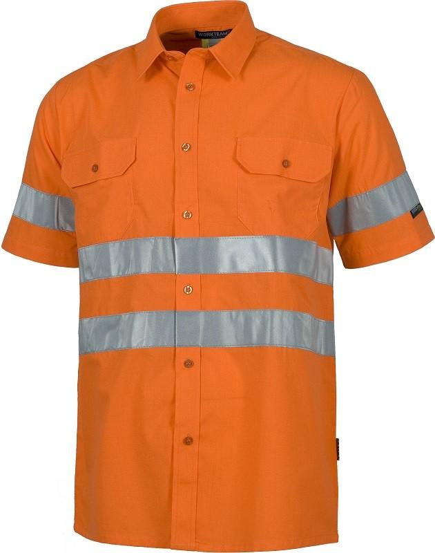 Camisa Alta Visibilidad de Manga Corta con bandas reflectantes.