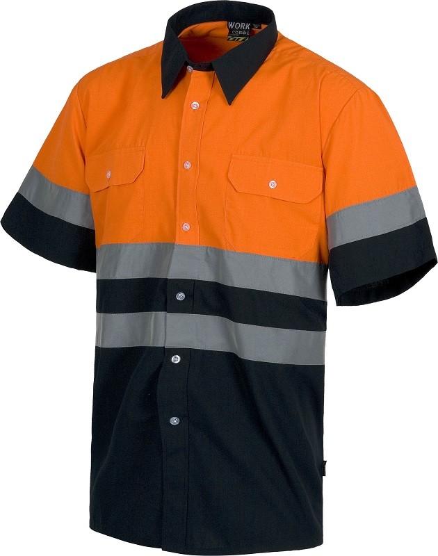Camisa de Alta Visibilidad Combinada Bicolor con cintas reflectantes