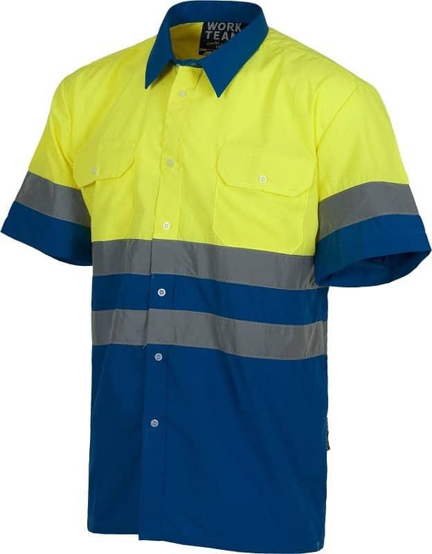 Camisa Alta Visibilida Bicolor de Manga Corta con bandas reflectantes.