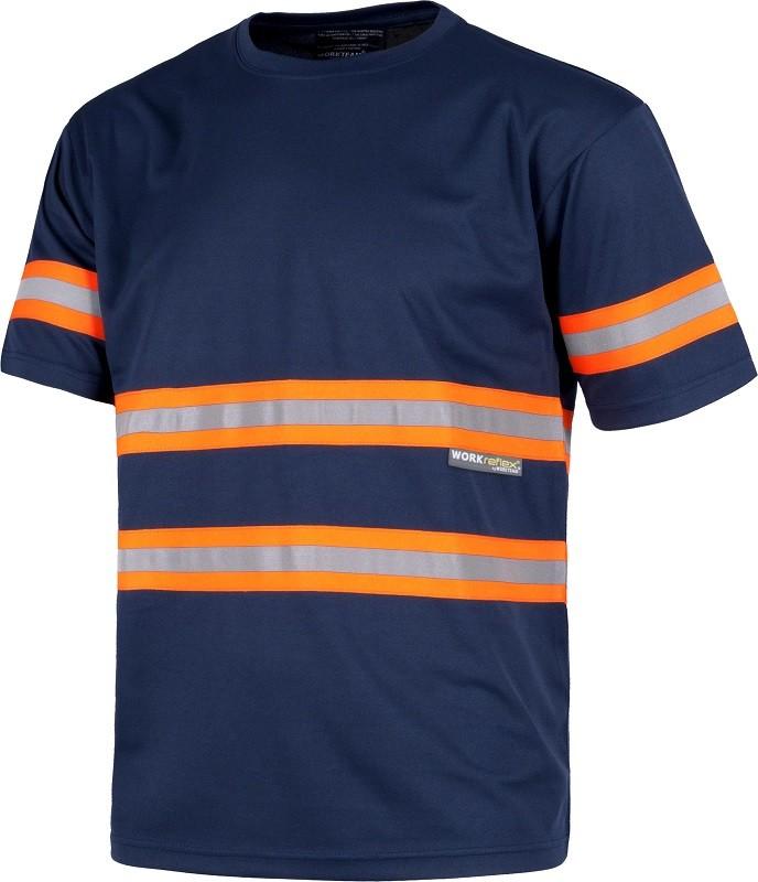 Camiseta de trabajo combinada con bandas Fluorescente-reflectantes.