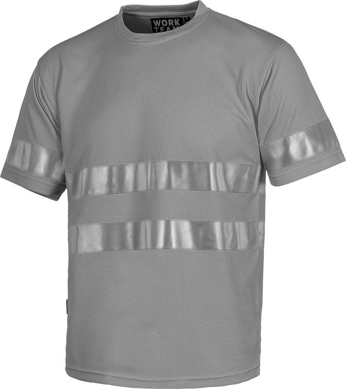 Camiseta de trabajo Manga Corta combinada con bandas reflectantes.