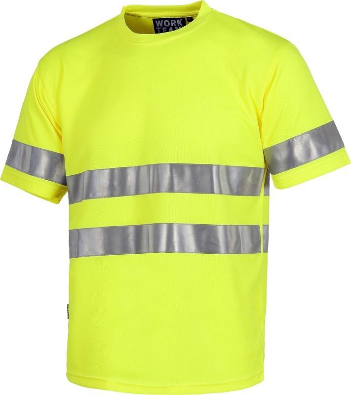 Camiseta Técnica de Alta Visibilidad Manga Corta con bandas reflectantes.