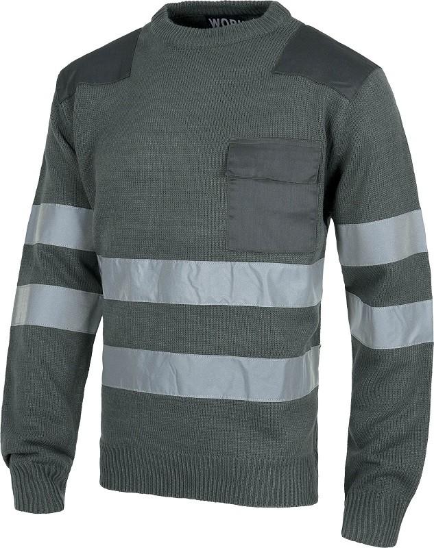 Jersey de trabajo de cuello redondo con Bandas Reflectantes y Refuerzos en hombros.