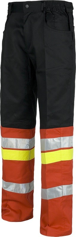 Pantalón de trabajo combinado con 3 bandas reflectantes.