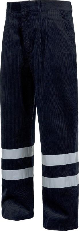 Pantalón de pana de trabajo con Bandas Reflectantes. Composición 100% Algodón.