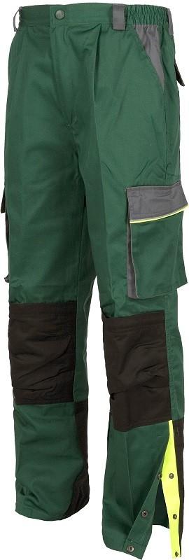 Pantalón Reforzado de trabajo Multibolsillos tricolor, con abertura en perneras y vivos de alta visibilidad.