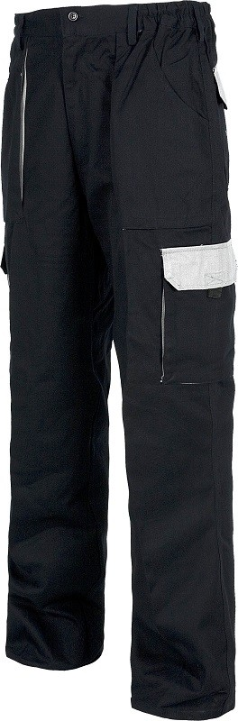 Pantalón de trabajo con colores combinados, Multibolsillos y de Alta resistencia. Composición 100% Algodón.